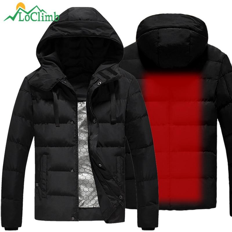 Loclimb L-5XL usb aquecido jaqueta masculina inverno aquecimento blusão caminhadas jaqueta térmica à prova dwaterproof água casaco masculino jaquetas ao ar livre am361