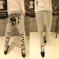 Primavera outono calças dos homens de impressão Crânio harem pants homens cruz Casuais calças Hip hop soltas sweatpants Masculinos Calças de Rua