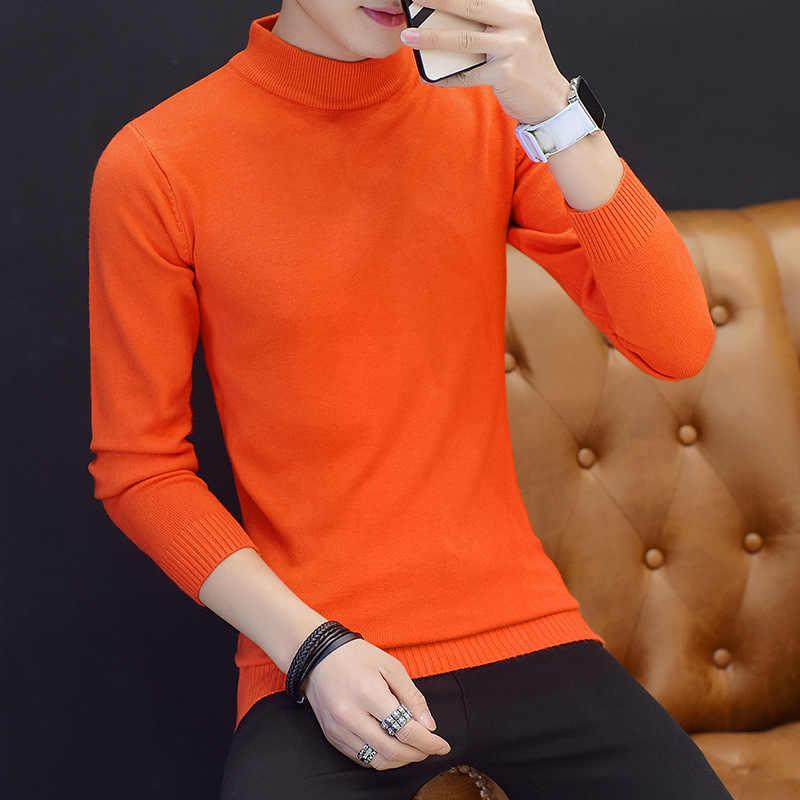 남자 스웨터 터틀넥 의류 2019 클래식 단순 풀오버 스웨터 남자 솔리드 화이트 레드 블루 오렌지 그레이 블랙 스웨터