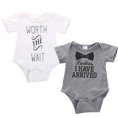 cbaa95026a63 Newborn Boys Girls Bowtie Quote Letter Print Cotton Short Sleeve Bodysuit  Playsuit Outfits Clothing
