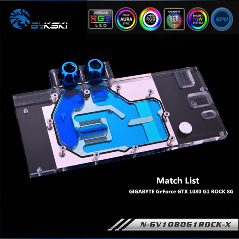 Bykski N-GV1080G1ROCK-X Full Coverage GPU Water Block For VGA GIGABYTE GeForce GTX 1080 G1 ROCK 8G Graphics Card image