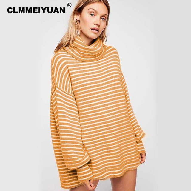 Chic Turtleneck Pullovers Sweaters Dress Women Autumn Winter Knitwear  Casual Cozy Yellow Striped Jumpers Female Thicken Sweaters a9634f160