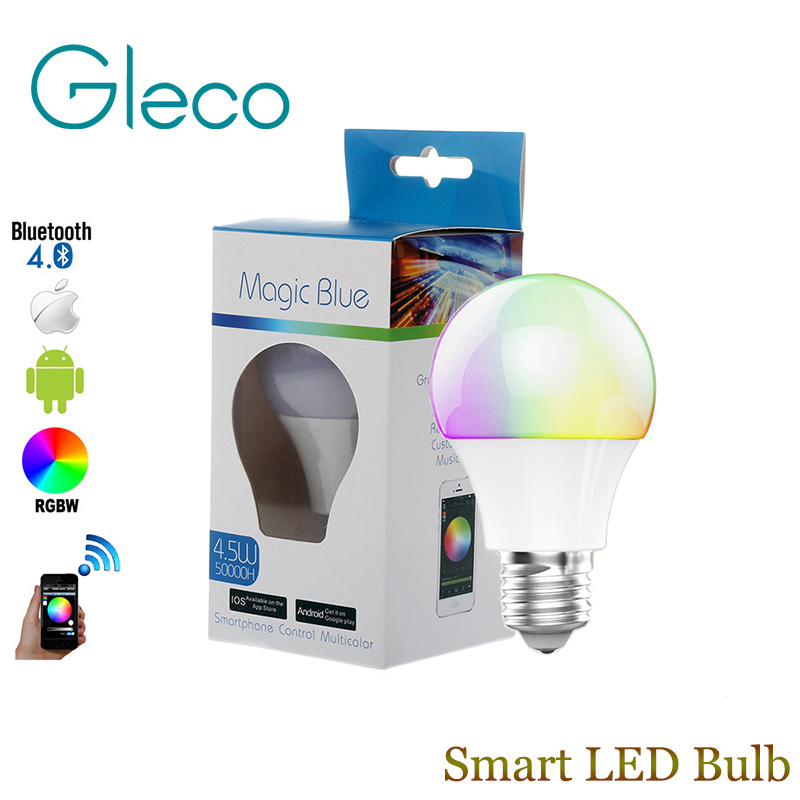 Bluetooth LED Bulb E27 RGBW 4.5W Bluetooth 4.0 Smart LED Light Bulb Timer Color changeable by IOS / Android APP стоимость