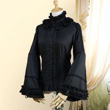 Stand Collar Flare Sleeve Women Victorian Gothic Shirt Black Chiffon Lace Ruffles Vintage Lolita Blouse Used in Matching Corset