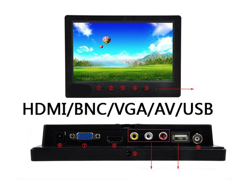 7 Inch Waterproof Industrial LCD Monitor, Panel Mount Touch Screen Monitor With