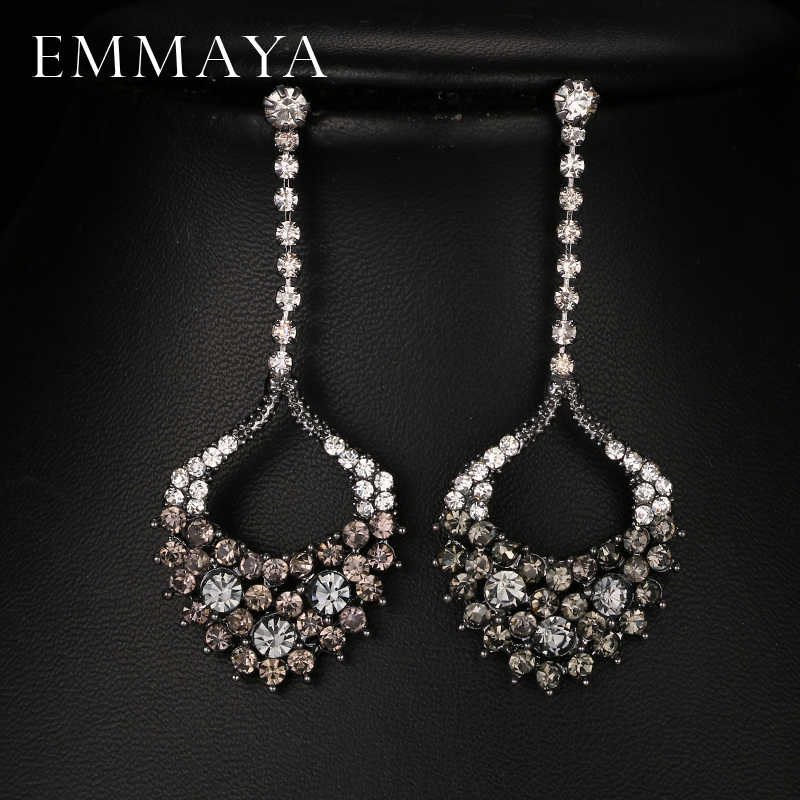 Emmaya Fashion Kristal Perhiasan Gun Hitam Anting Warna Stud Earrings Wanita Trendy Murah