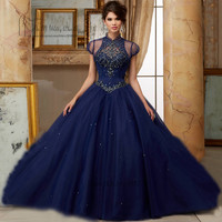 Vestidos de 15 Anos Crystals Navy Blue Quinceanera Dresses 2017 Sweet 16 Dresses Ball Gowns Debutante Gown Rhinestones 15 Years