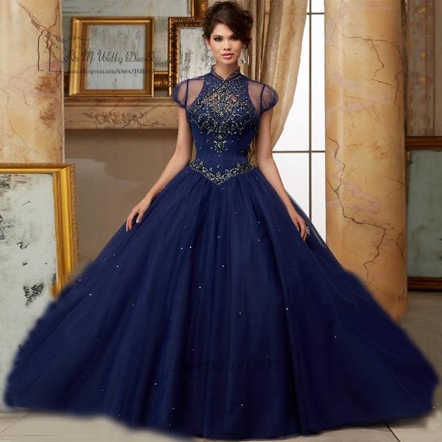 26aa8f2f1b Vestidos de 15 Anos cristales azul marino Quinceañera Vestidos 2017 dulces  16 Vestidos de baile vestido