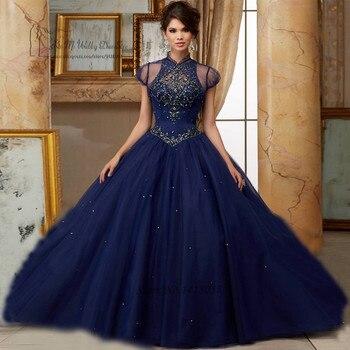 16ae7f7e6 Vestidos de 15 Anos cristales azul marino Quinceañera Vestidos 2017 dulces 16  Vestidos de baile vestido de Debutante diamantes de imitación 15 años