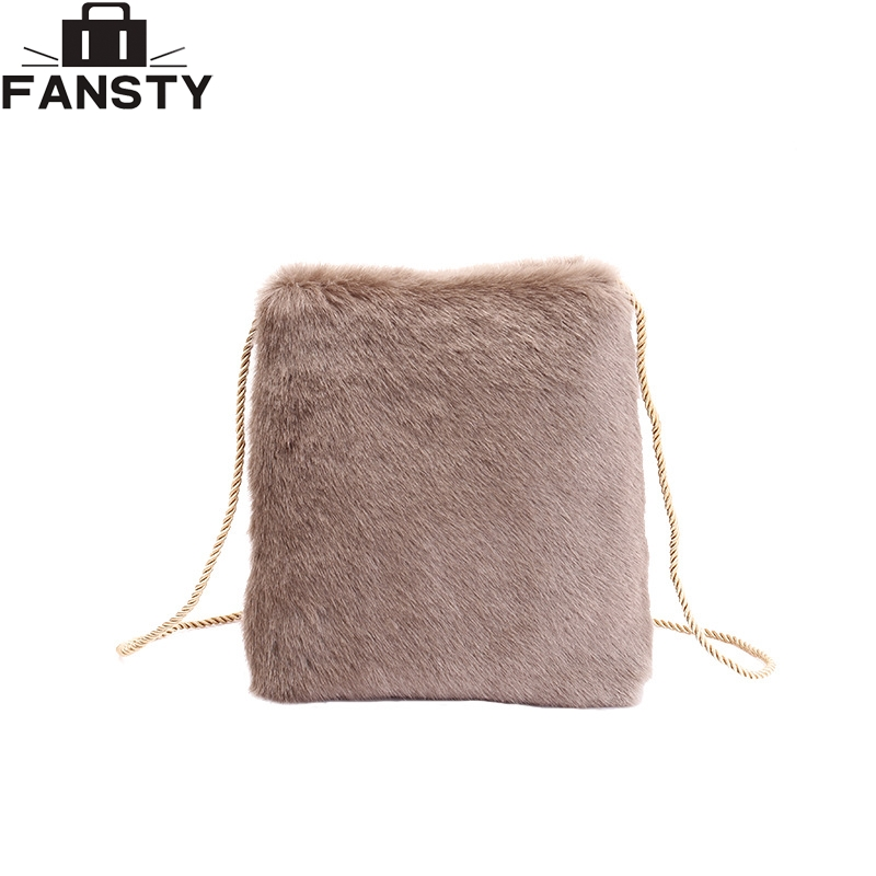 New Winter Small Women Shoulder Bag Fashion Solid Faux Fur Crossbody Envelope Bag Casual Women Black Beige Grey Messenger Bag inc new women s size small s beige black ombre ribbed cowl neck tunic $79 355
