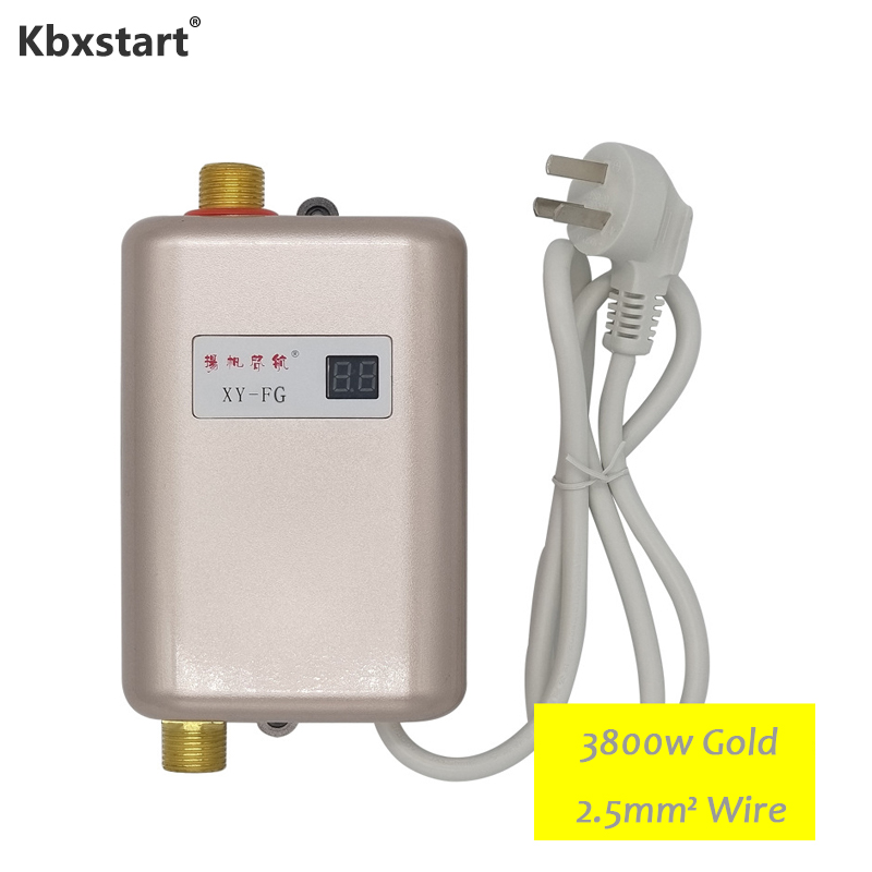 3800W Electric Kitchen Water Heater Tankless Instant Electric Water Heating Shower 3 Seconds Hot Temperature Display