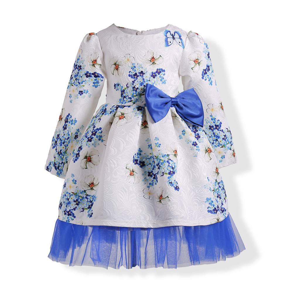 2017 Winter print Girls Dress For Princess Party Dresses children clothing kids long sleeve Princess Dress with bow party dress girls europe and the united states children s wear red princess long sleeve princess dress child kids clothing red bow lace
