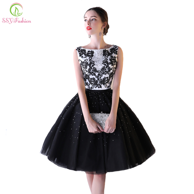 SSYFashion New Evening Dress Banquet Elegant White with Black Lace Flower Short A line Party Formal