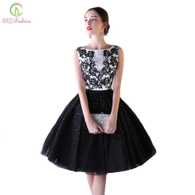 e815785975e Ssyfashion новое вечернее платье банкет элегантный белый с черным