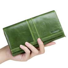 Купить с кэшбэком 2018 New Brand Wallet Female Long Clutch Card Holders With Cellphone Pocket Women Wallets Genuine Leather Coin Purse For Ladies