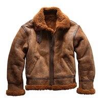 Европейский размер, высокое качество, супер теплая Натуральная овечья кожа, куртка мужская, большой размер, B3, овечья шерсть, военный бомбар