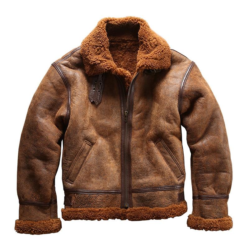 european size high quality super warm genuine sheep leather jacket mens big size B3 shearling bomber military pilot fur jacket