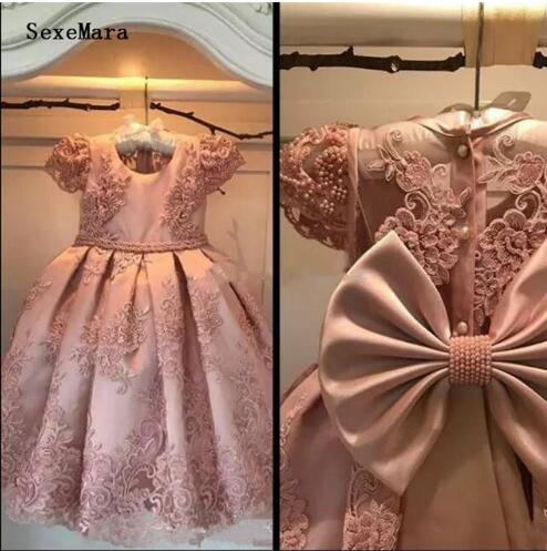 Pink Real Picture Flower Girl Dresses Cap Sleeve Lace Pearls Girls Birthday Party Dresses Pageant Gown Custom Made Size