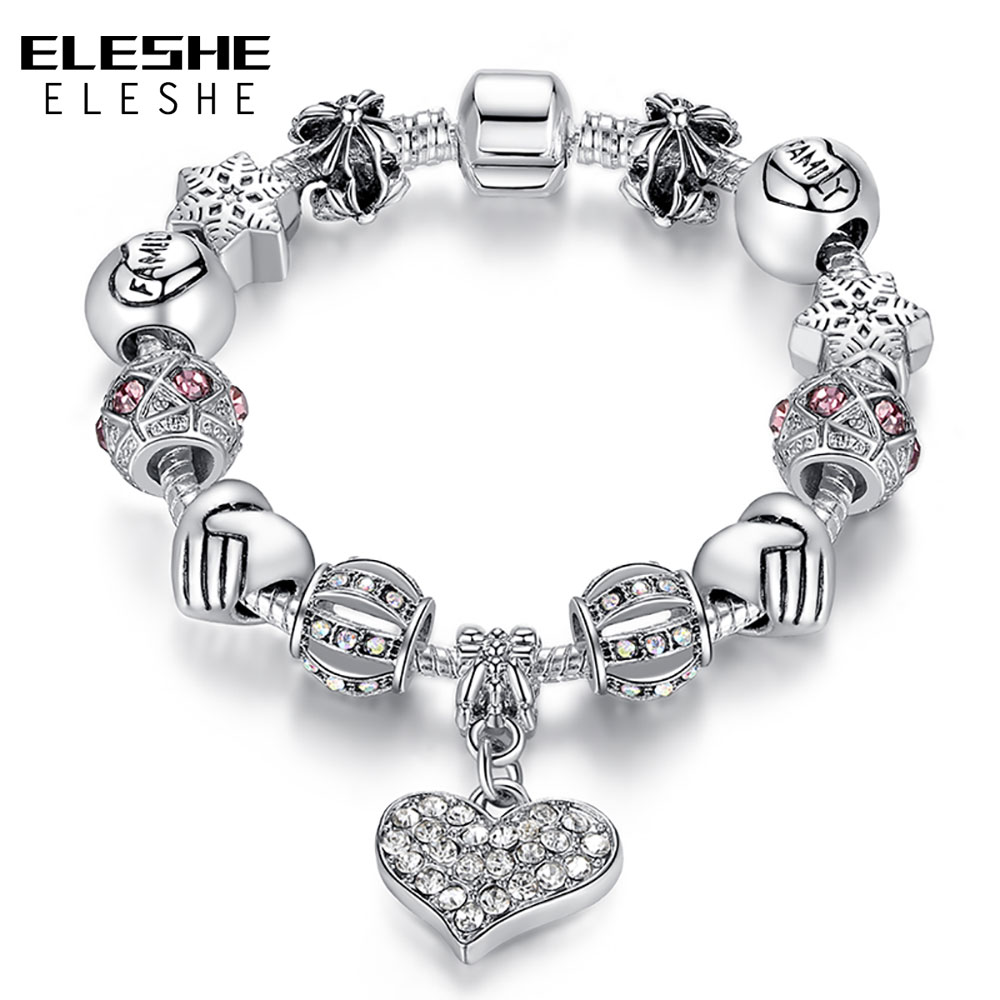 Luxury 925 Sterling Silver Woman Bracelet  Glass&Crystal Bead Charms With Bracelet European Style Heart Pendant Jewelry PS3307 Детская кроватка
