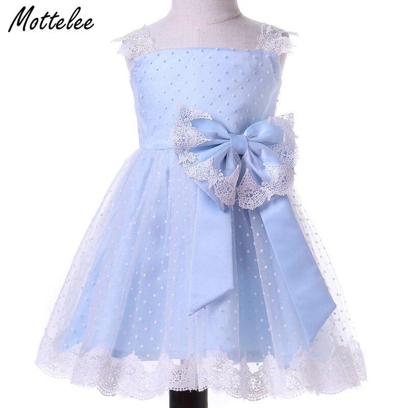 Mottelee Toddler Girls Dress Elegant Baby Lace Party Dresses Blue Bow Kids Formal Frocks 2018 Summer Children Polka Dot Clothing