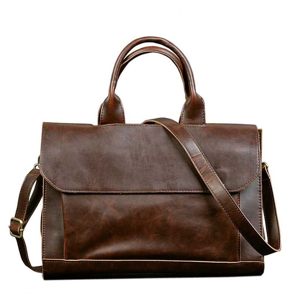 Retro Men's Briefcase Crazy Horse Leather Laptop Handbag Designer Shoulder Bags Business Messenger laptop Bag men Crossbody bags(China)