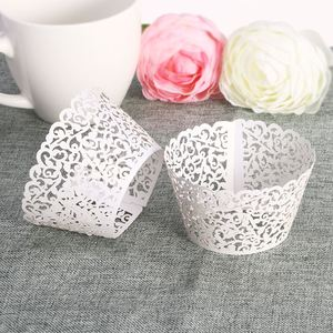 Image 2 - 50pcs Paper Cut Cupcake Wrappers Decor White Baby Shower Wrap Cup Cake Wrapper Cake Decorating Tools FOR Wedding Party Supplies