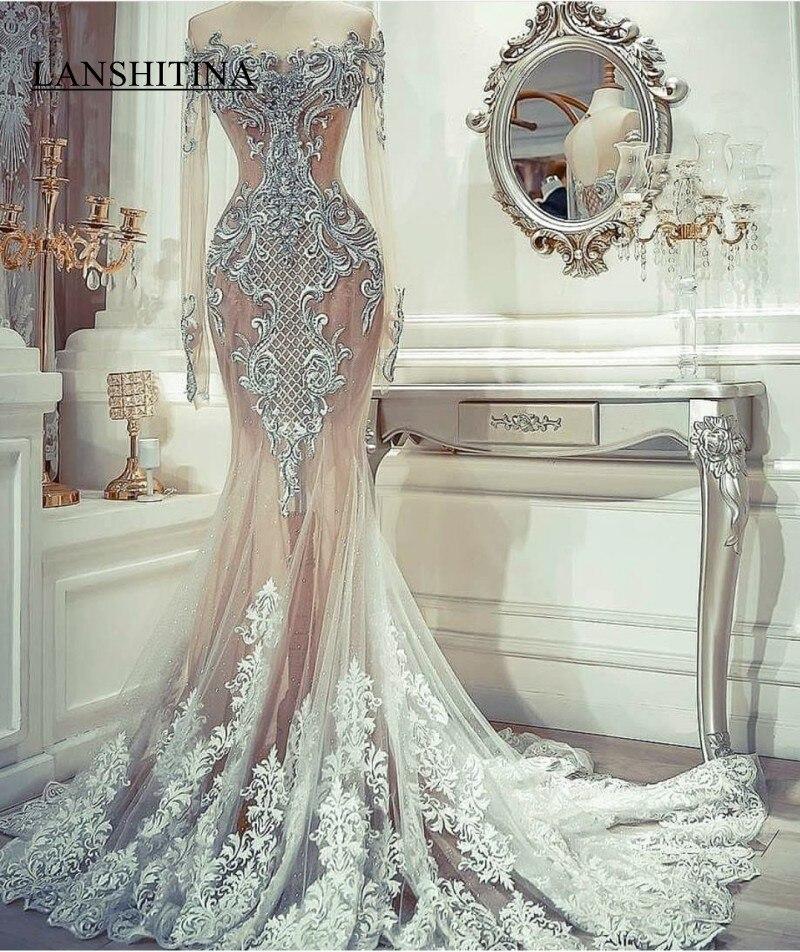 2K19 manches longues robes de bal sirène africaine robes de soirée pure bijou broderie modeste formelle fête Occasion spéciale robe