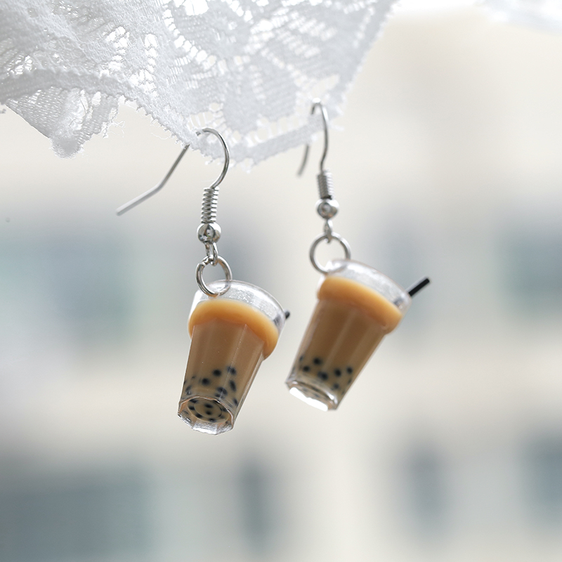 Fashion Plastic Dangle Earrings Women Cute Romantic Simulation Popular Pendant Earrings Pearl Milk Tea Food Earrings For Women
