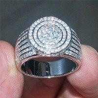 Choucong ювелирные изделия роскошные 925 пробы серебро полный камень кольца проложить установка 365 шт. 5a Циркон CZ Кольцо палец Свадебные для женщ
