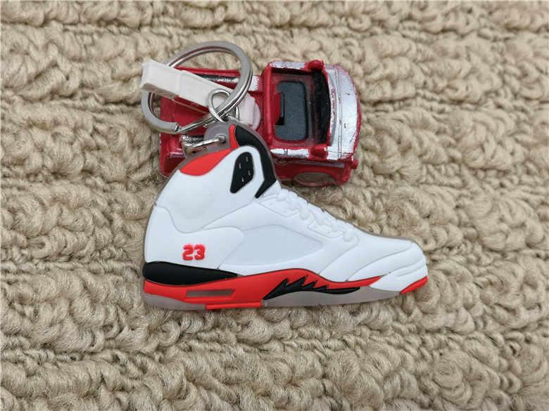 Bonito mini silicone jordan 5 aj sapatos chaveiro saco charme mulher dos homens crianças chaveiro presentes acessórios sneaker chave titular pingente