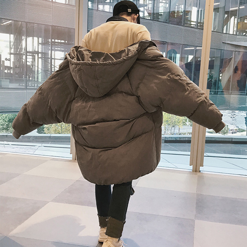 2019 Winter Men's Snow Jackets Fashion Cap Cotton-padded Homme Clothes Male Peach Skin Loose Long Coat   Parka   Large Size S-5XL