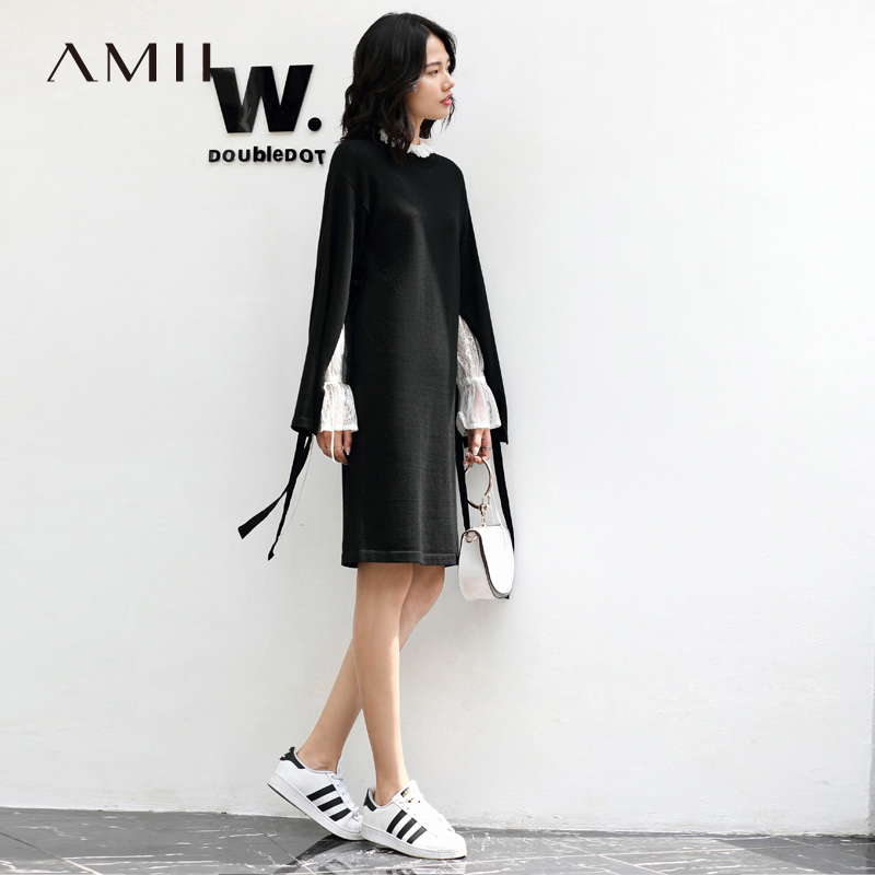 Amii Sweet Sweater Dresses Women Winter 2018 Causal Lace Up Bow Slit Solid Elegant Knitted Dress