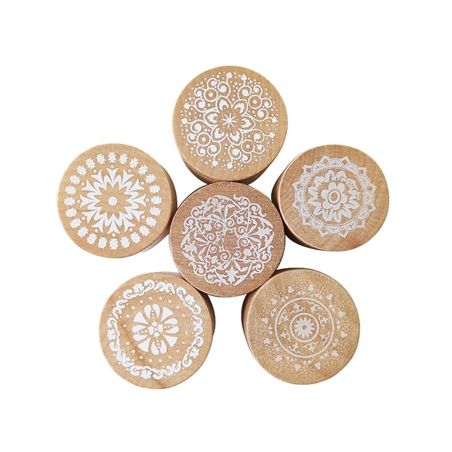 1 Pcs Vintage Floral Flower Pattern Round Wooden Rubber Stamp