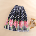 Ball Gown Women Pleated Flared Midi Length Skater Skirt Fashion Summer Autumn Retro Casual Pink Rose Polka Dot Print Skirts Saia