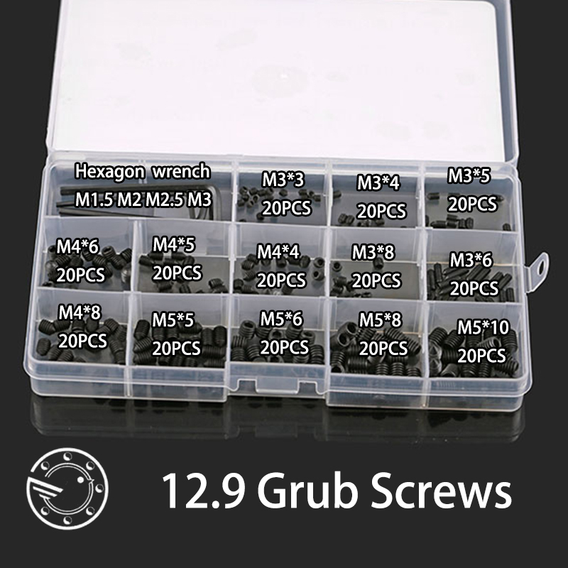 260pcs 12.9 carbon steel Allen Head Hex Socket Grub Screw Bolts Nuts Fasteners with Cone Point Screws Assortment Kit 50pcs lots carbon steel screws black m2 bolts hex socket pan head cap machine screws wood box screws allen bolts m2x8mm