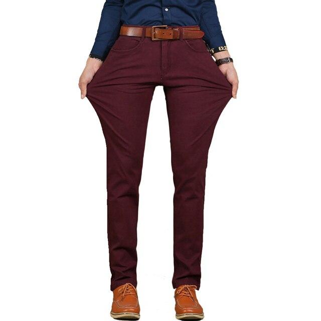 Vômito Marca New Mens Casual Pant Tecido de Alta Trecho Elástico Skinny Slim Calças de Corte Crachá Bolso Plus Size 44 46 v7S1P008