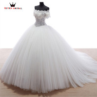 Wedding Dresses Ball Gown Short Sleeve Fluffy Tulle Lace Romantic Robe De Mariee Bridal Wedding Gown