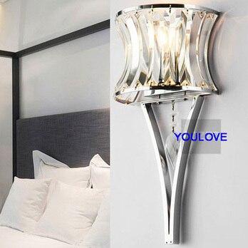 Pha Lê hiện đại Ice & Fire Đèn Tường Torch Pha Lê Tường Lights Lịch Thi Đấu Nhà Indoor Chiếu Sáng Phòng Ngủ Bed Side Parlor Foyer đèn