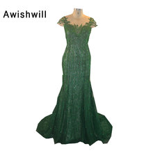Short Sleeve Formal Dresses for Women Beading Lace Green Mermaid Evening Dresses Long Elegant Evening Gowns 2017 Robe De Soiree