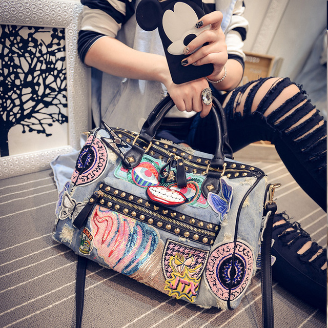 Rock Style Fashion Totes Women Denim Handbags Casual Shoulder Bags Vintage Demin Blue Top Handle Bags Bolsa Large Travel Bag 198
