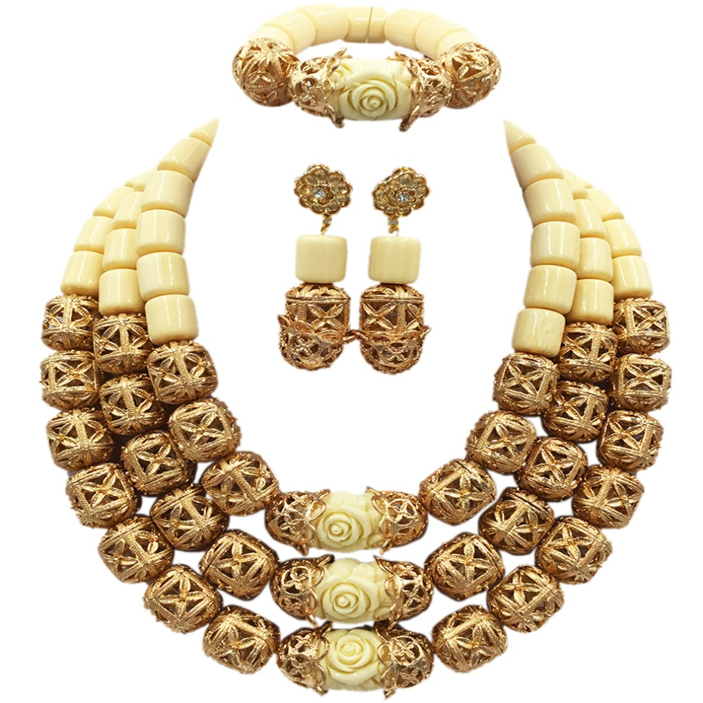 Fashion White Artificial Coral and Gold Bead Necklace Nigerian Wedding African Beads Jewelry Set for Women ACB-07 latest yellow and gold beaded artificial coral nigerian wedding african beads jewelry set acb 11