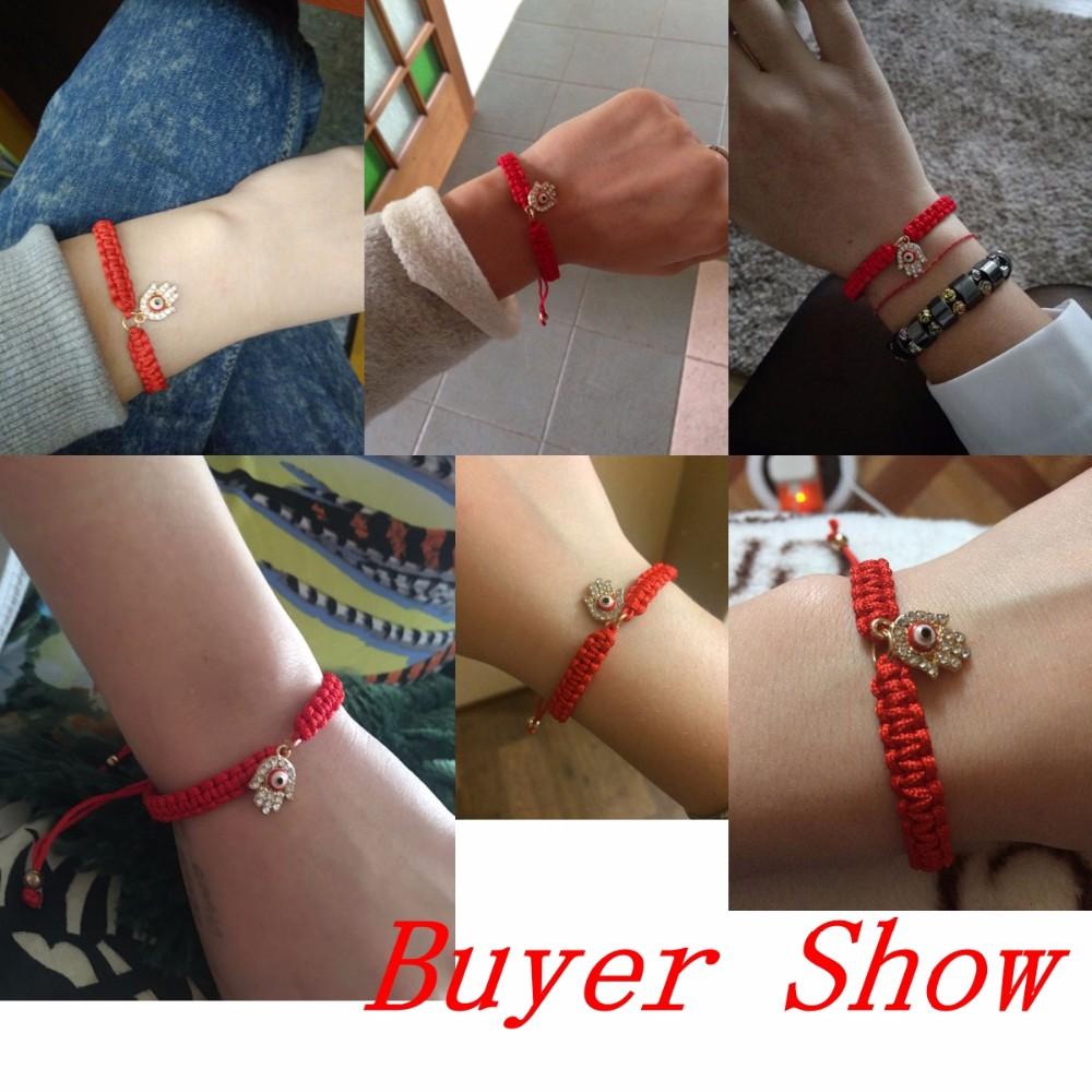 Handmade Braided Rope Bracelets Red Thread Turkish Jewelry Crystal Hamsa Hand Charm Bracelets Bring Lucky Peaceful Bracelets 27