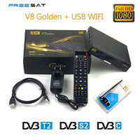 Freesat V8 Golden COMBO Satellite Receiver HD DVB S2 + DVB T2 / DVB C Twin Tuner Support USB WiFi CCcamd NEWcamd Youtube Youporn
