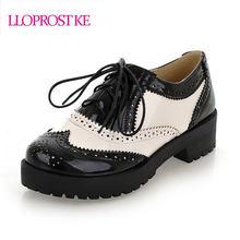 9d17e929d LLOPROSTKE mulheres bombas moda preto branco cor do laço de couro japanned  sapatos de dança de