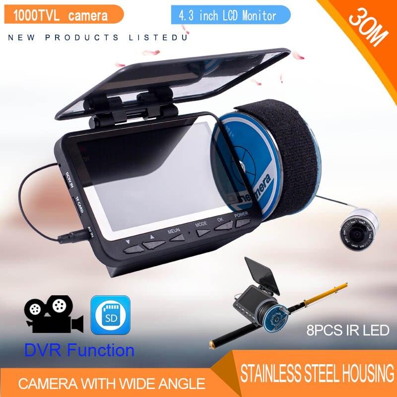 Syanspan Original 15/1000TVL 30 M Infravermelho Inventor Dos Peixes Câmera Subaquática Câmera de Vídeo de Pesca No Gelo 4.3 Monitor 8 IR LED Com DVR