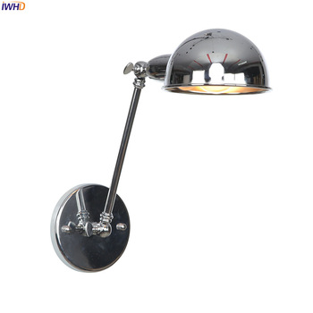 IWHD Loft Industrial Retro Wall Lights Fixture Bathroom Bedroom Beside Lamp Vintage Arm Wall Light LED Applique Murale Luminaire iwhd white swing long arm wall lamp vintage bedroom bathroom mirror industrial loft style retro wall lights fixtures edison led