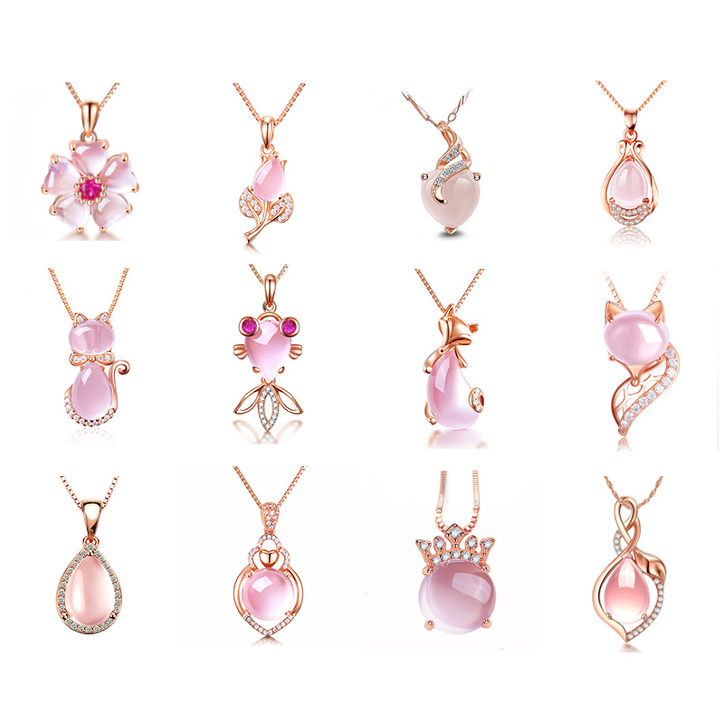 Fashion women pendant for making jewelry diy pink opal fit for chains necklace rose gold accessories wholesale without chain P31 thumbnail