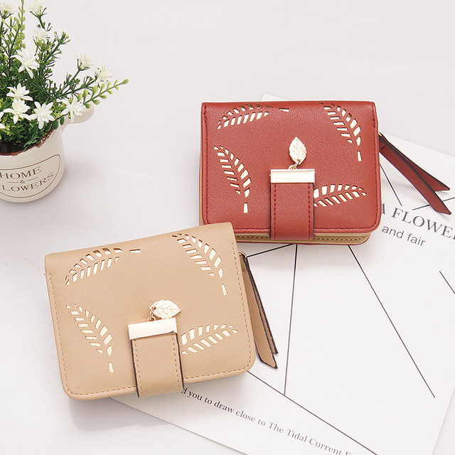 New Women Wallets Short Wallet Ladies Zipper Buckle Hollow Leaf Purse Wallet Female Women Zipper Purse Card Holder Cartera Mujer 1
