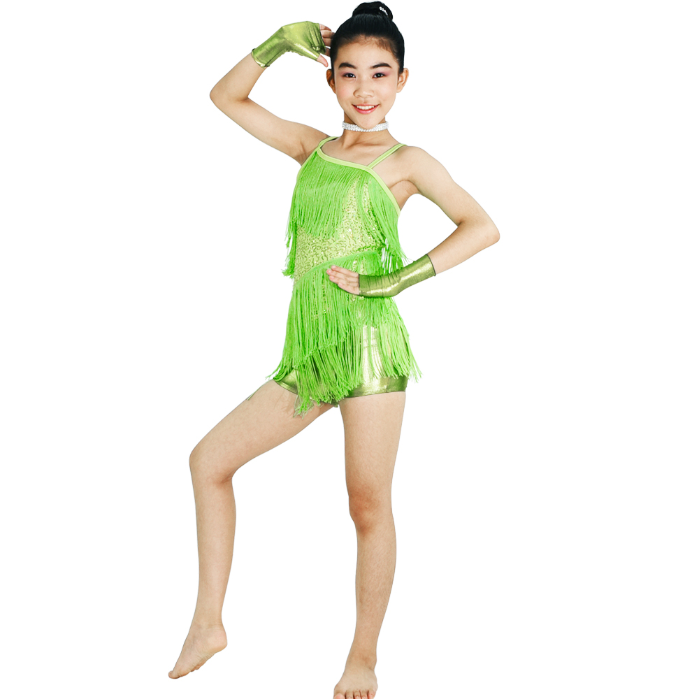 MiDee Sequined One Shoulder Fringe Dance Dress Pertandingan Pertunjukan Kostum Skating Latin Dance Latin High-low