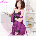 LA8247 Free shipping new arrival women babydoll purple poplin soft sex clothing  with lace decorated exotic lingerie